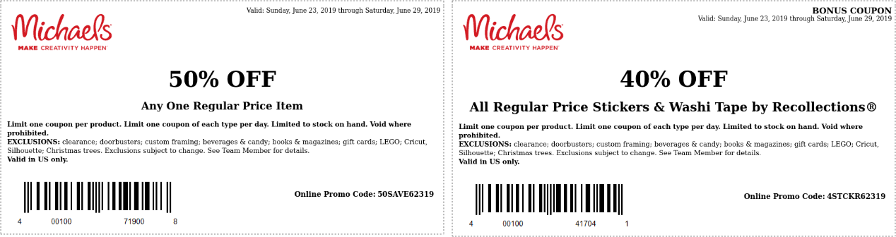 Michaels.com Promo Coupon 50% off a single item at Michaels, or online via promo code 50SAVE62319