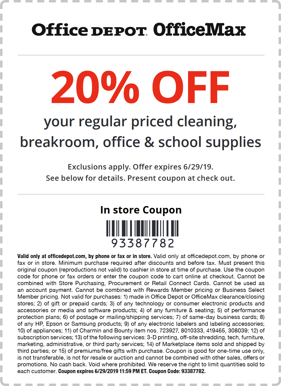 OfficeDepot.com Promo Coupon 20% off at Office Depot, or online via promo code 93387782