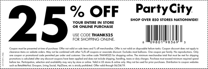 Party City Coupon August 2019 25% off today at Party City, or online via promo code THANKS25