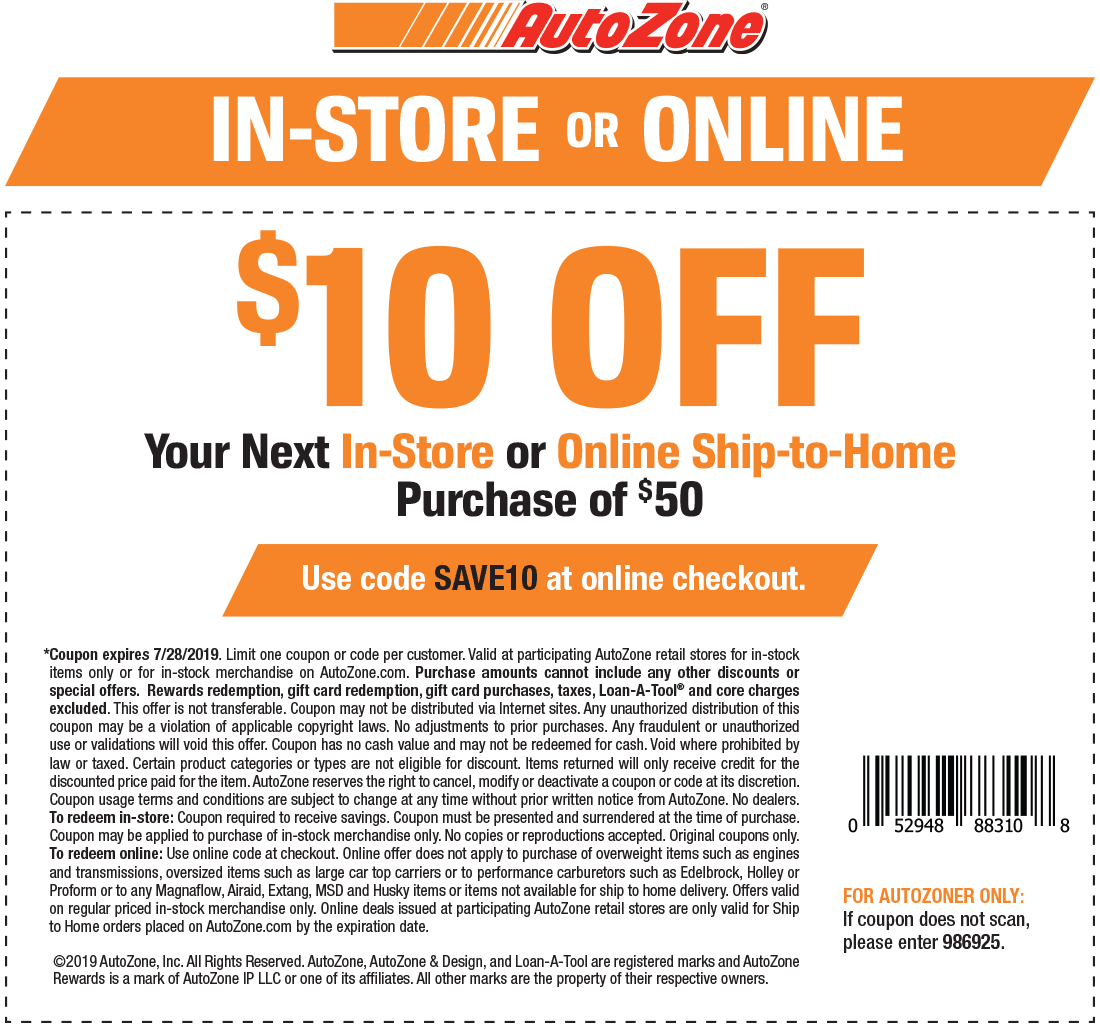 AutoZone.com Promo Coupon $10 off $50 at AutoZone, or online via promo code SAVE10