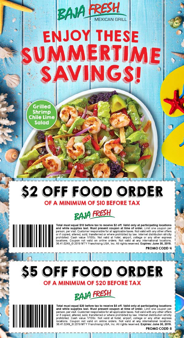 Baja Fresh Coupon November 2019 $2-$5 off at Baja Fresh restaurants