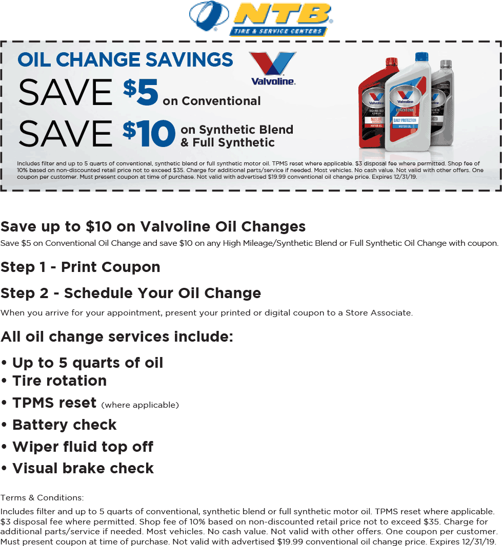 NTB Coupon September 2019 $5-$10 off an oil change at NTB