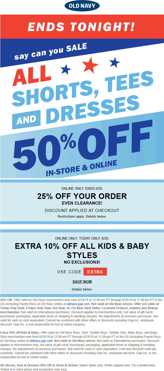 Old Navy Coupon September 2019 50% off shorts tees and dresses & more today at Old Navy, ditto online