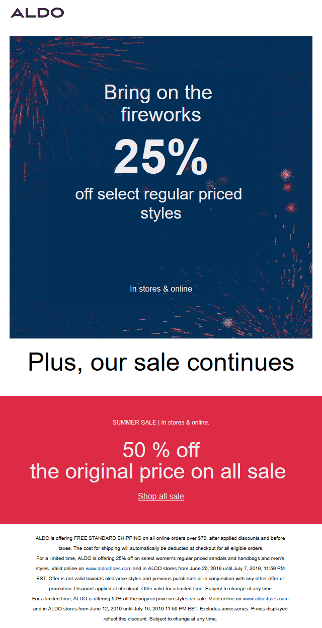 Aldo.com Promo Coupon 25-50% off going on at ALDO, ditto online