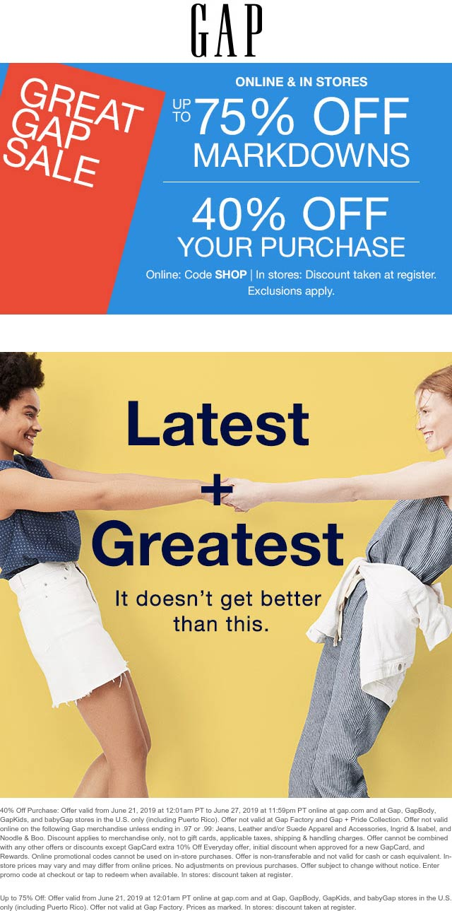 Gap Coupon September 2019 40% off & more today at Gap, or online via promo code SHOP