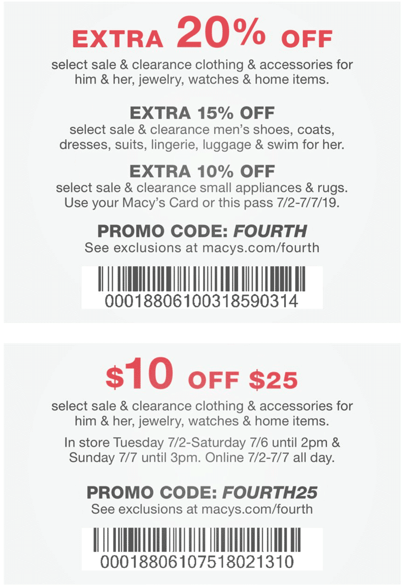 Macys Coupon August 2020 $10 off $25 at Macys, or online via promo code FOURTH25