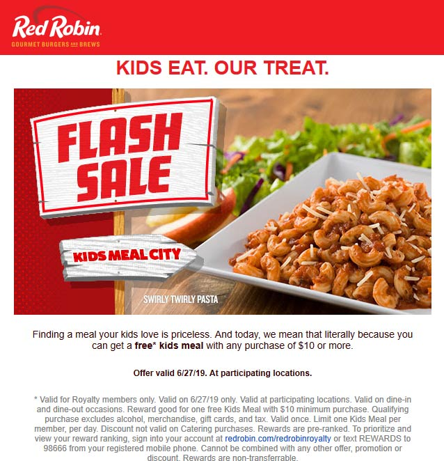 Red Robin Coupon September 2019 Kids eat free today at Red Robin restaurants