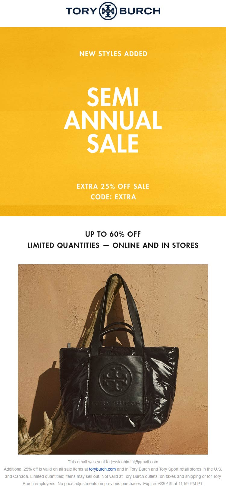 Tory Burch Coupon September 2019 Extra 25% off sale items at Tory Burch, or online via promo code EXTRA
