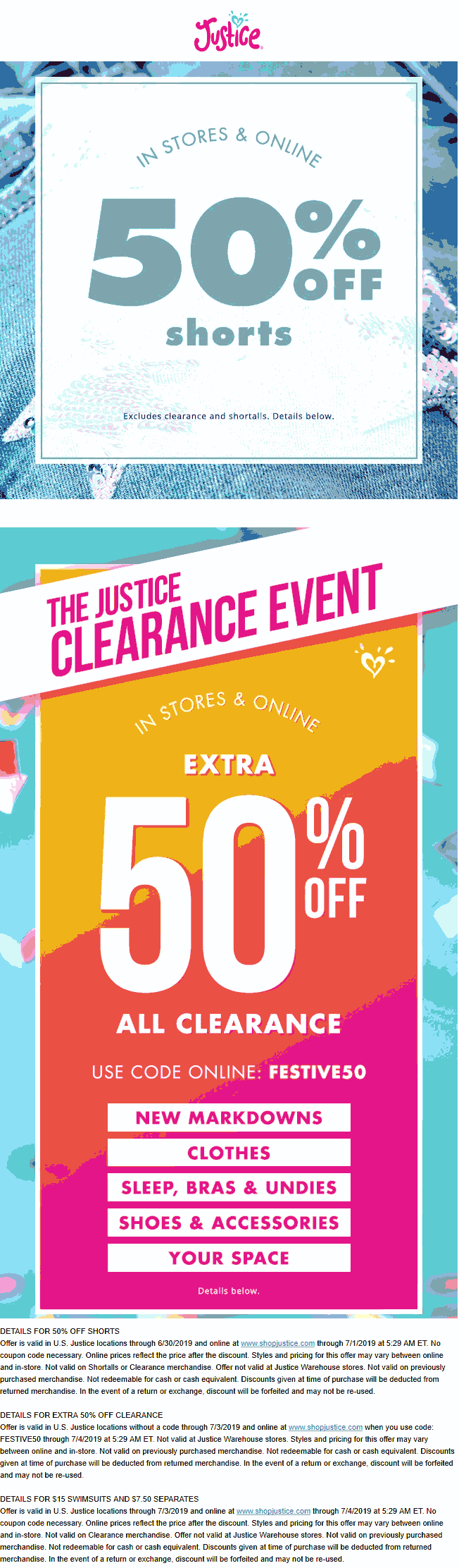 Justice Coupon September 2019 50% off shorts & clearance at Justice, or online via promo code FESTIVE50