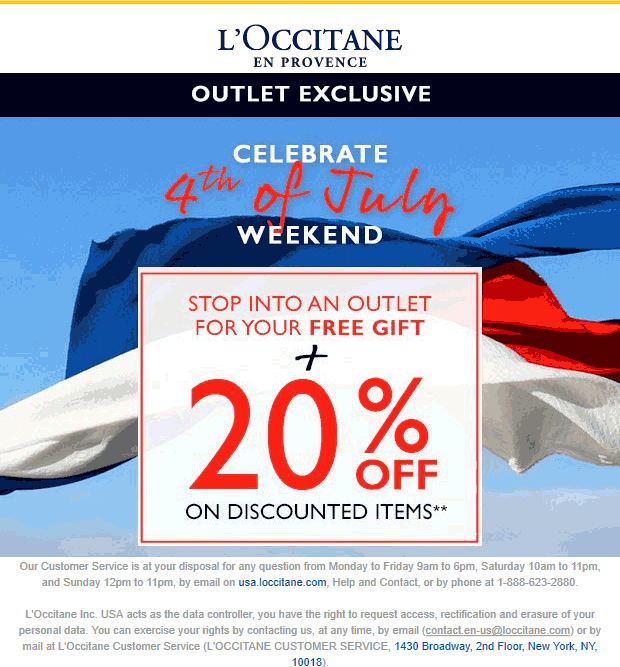 LOccitane Coupon July 2020 20% off + free gift at LOccitane Outlet locations