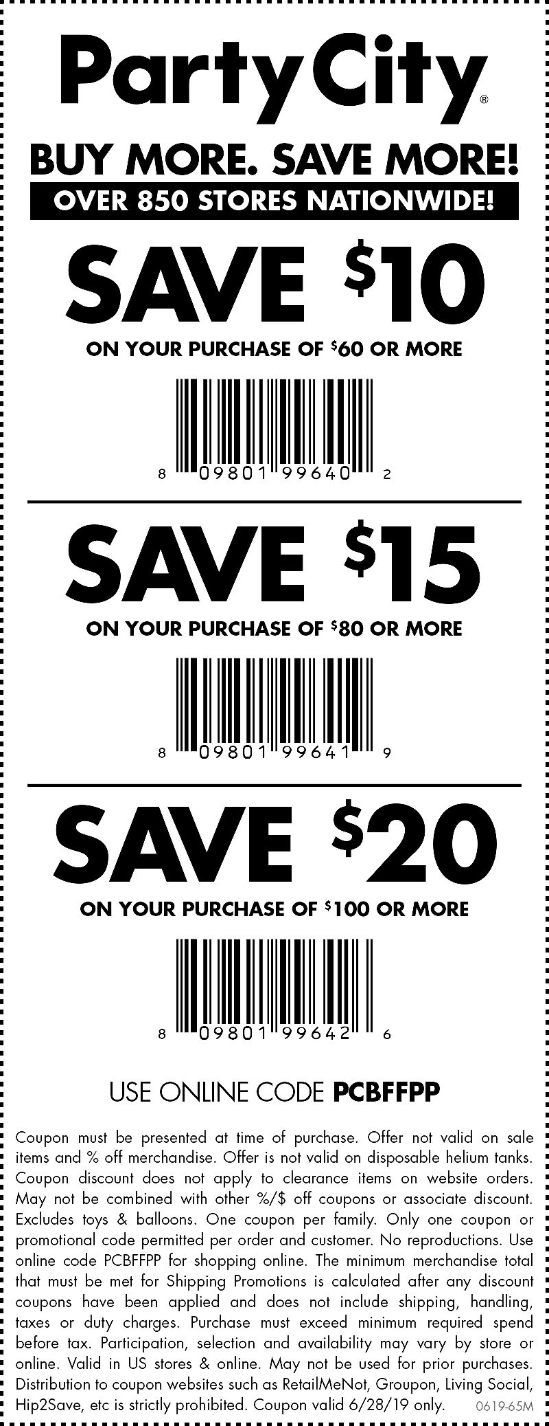 Party City Coupon January 2020 $10 off $60 & more today at Party City, or online via promo code PCBFFPP