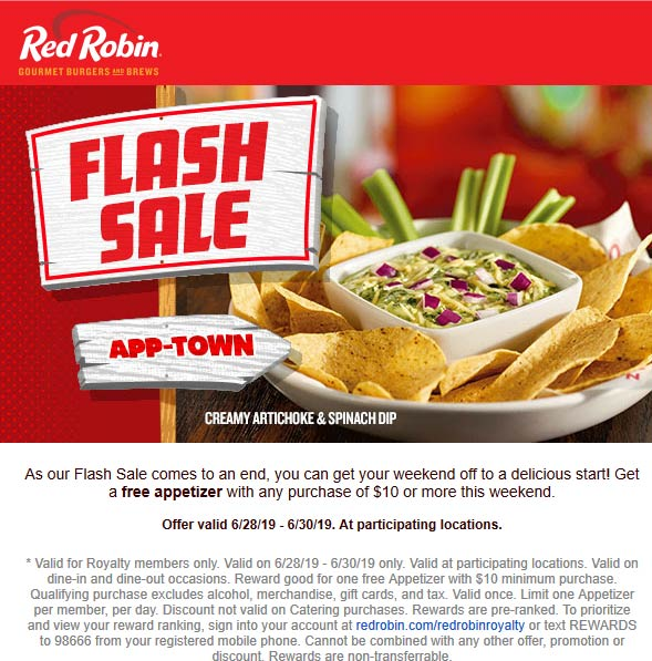 Red Robin Coupon September 2019 Free appetizer with $10 spent at Red Robin