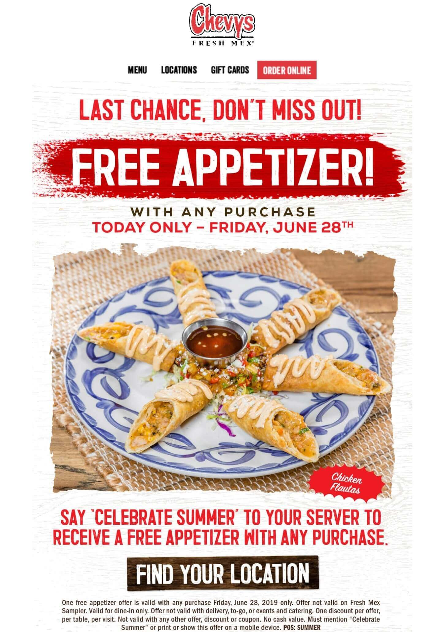 Chevys Fresh Mex Coupon July 2020 Free appetizer today at Chevys Fresh Mex