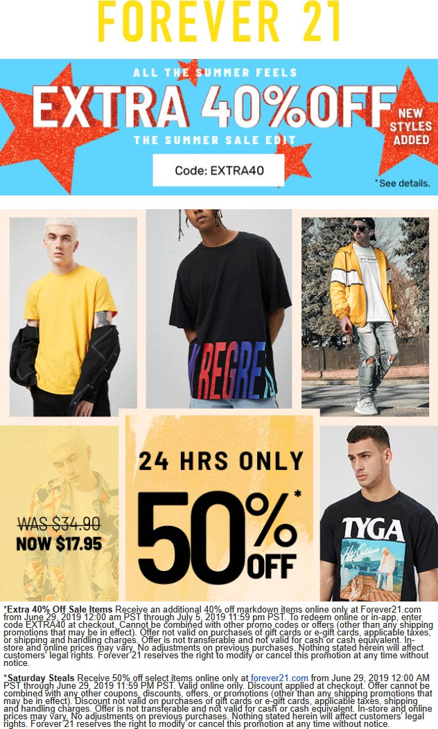 Forever 21 Coupon January 2020 Extra 40% off sale items online today at Forever 21 via promo code EXTRA40