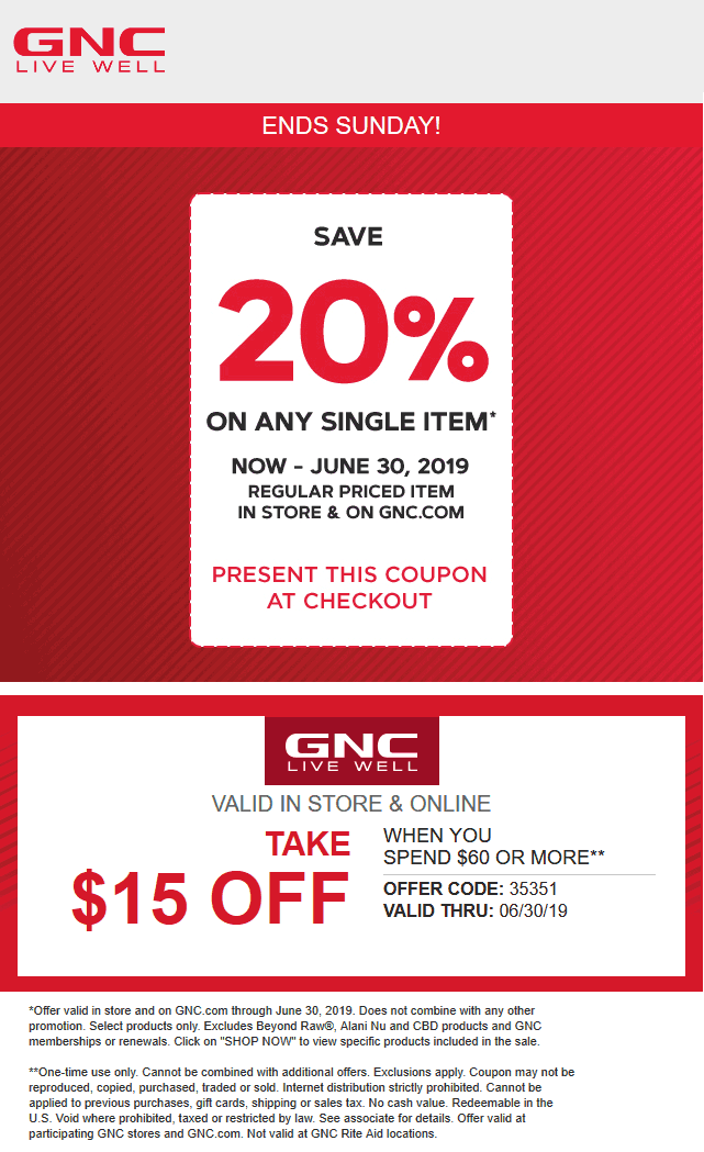 GNC Coupon November 2019 20% off a single item at GNC, or $15 off $60 online via promo 35351
