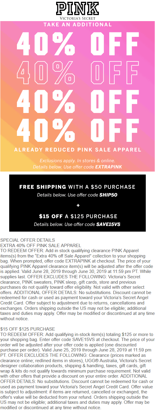 PINK coupons & promo code for [April 2020]