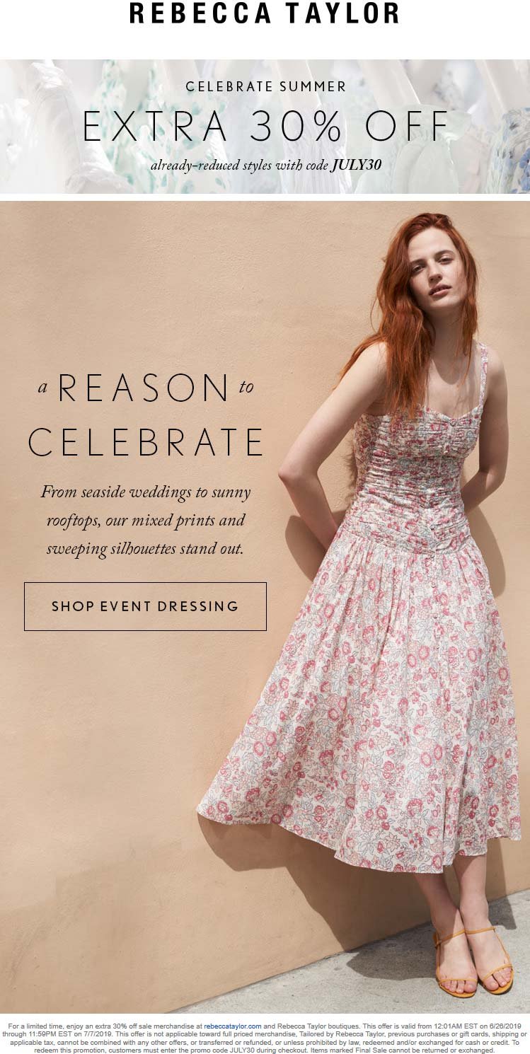 Rebecca Taylor Coupon November 2019 Extra 30% off at Rebecca Taylor, or online via promo code JULY30