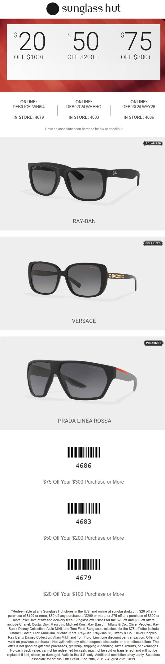 image relating to Sunglass Hut Printable Coupons identified as Sungl Hut coupon codes - $20 off $100 even more at Sungl