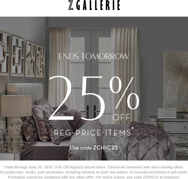 Z Gallerie Coupon November 2019 25% off at Z Gallerie, or online via promo code ZCHIC25