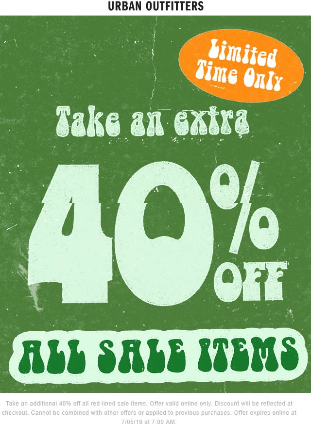 UrbanOutfitters.com Promo Coupon Extra 40% off sale items online at Urban Outfitters