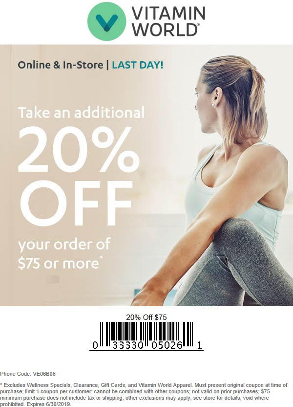 Vitamin World Coupon July 2020 20% off $75 today at Vitamin World, or online via promo code VE06B06