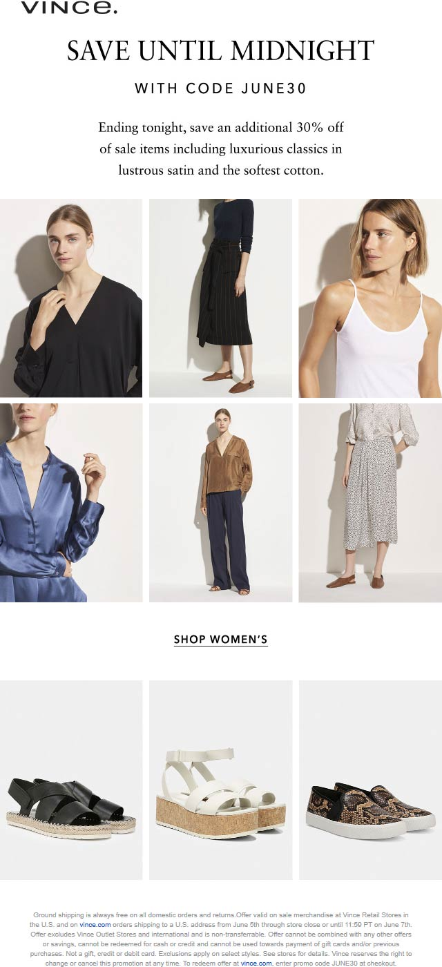 Extra 30% off sale items today at Vince via promo code JUNE30 #vince