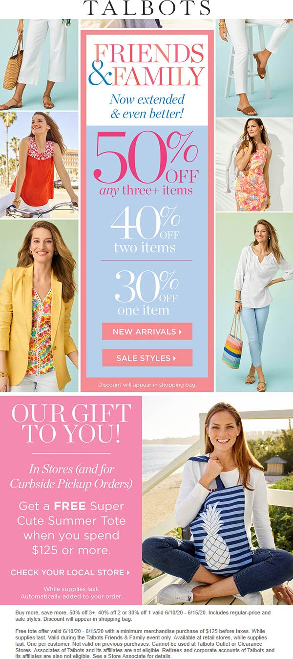 50% off 3+ items at Talbots & free summer tote with $125+ #talbots