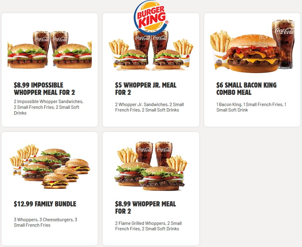 2 whopper jr + 2 fries + 2 drinks = $5 at Burger King #burgerking