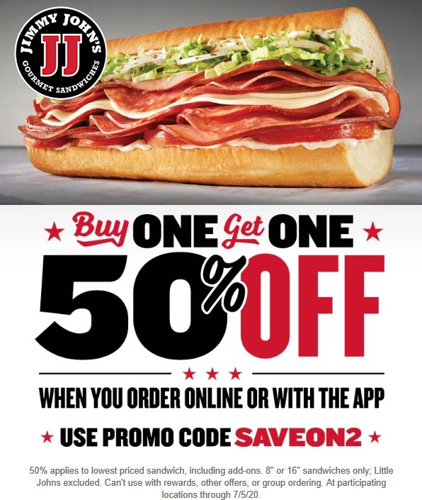 Jimmy Johns restaurants Coupon  Second sub sandwich 50% off at Jimmy Johns online via promo code SAVEON2 #jimmyjohns