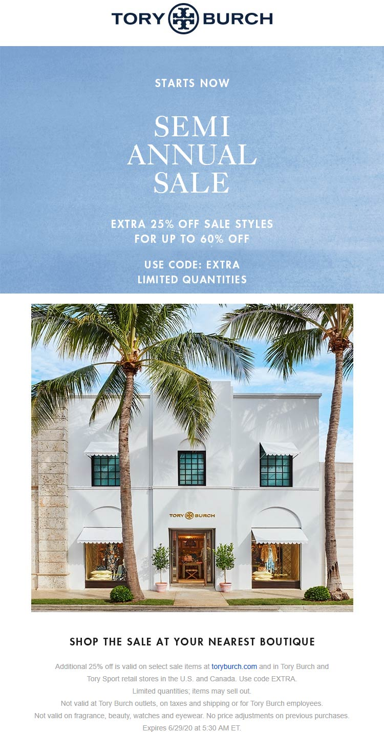Extra 25% off sale items at Tory Burch, or online via promo code EXTRA #toryburch
