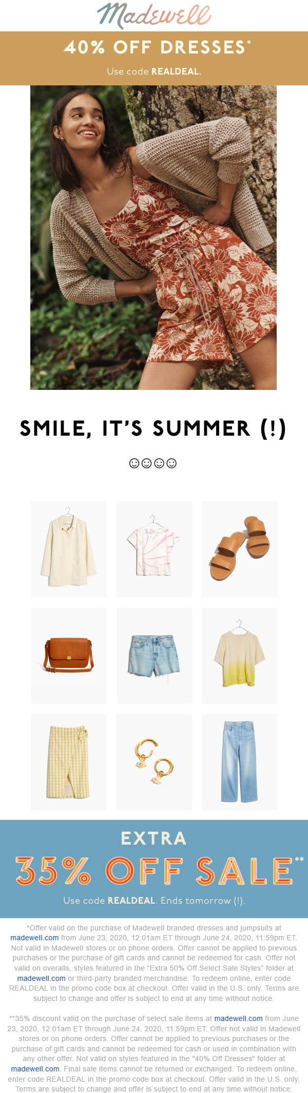 Extra 35% off sale items, 40% off dresses at Madewell via promo code REALDEAL #madewell
