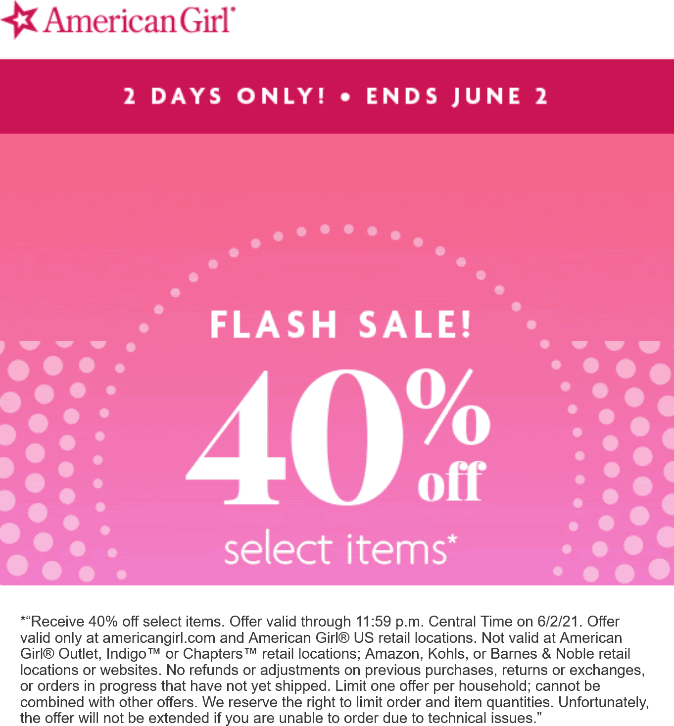 American Girl stores Coupon  40% off various items at American Girl doll stores #americangirl