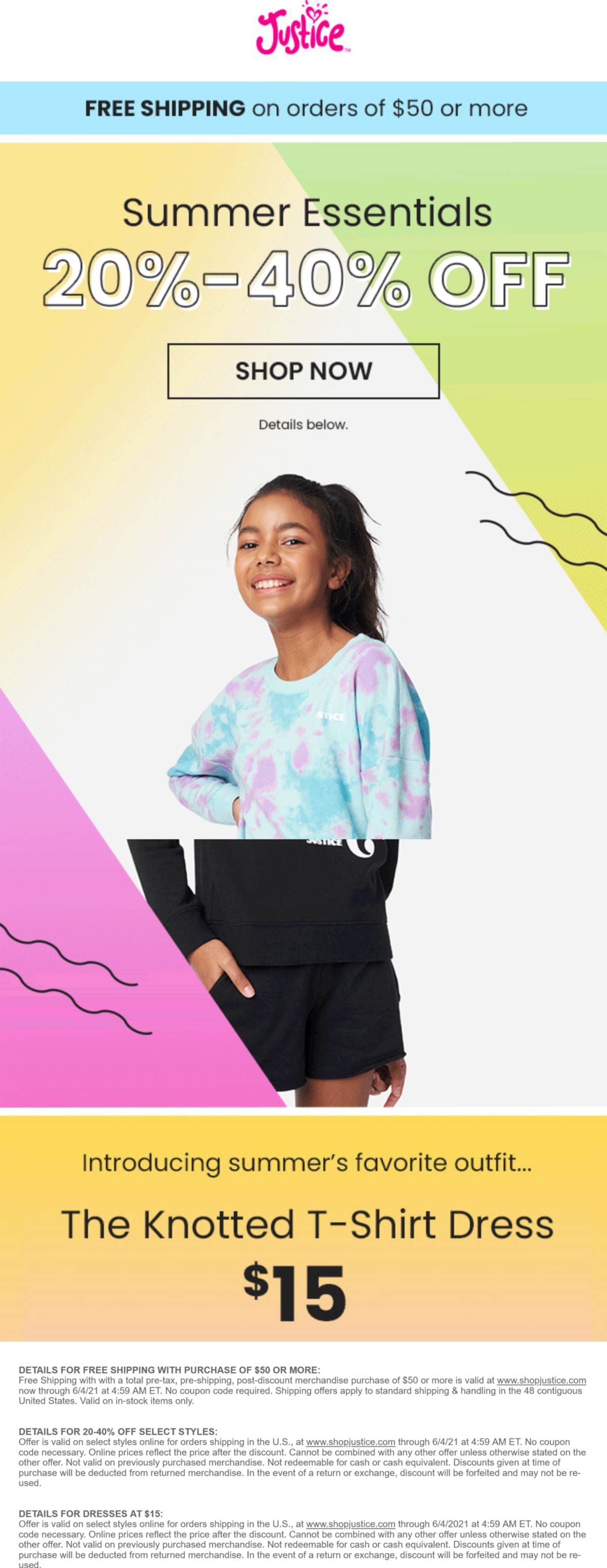 Justice stores Coupon  20-40% off Summer at Justice #justice