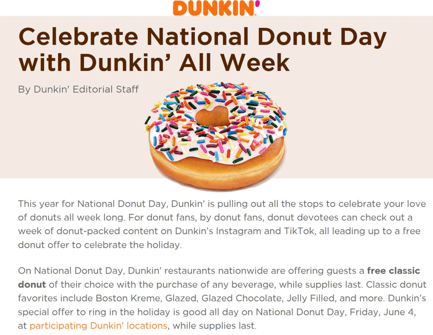 Dunkin restaurants Coupon  Free doughnut with your beverage Friday at Dunkin Donuts #dunkin