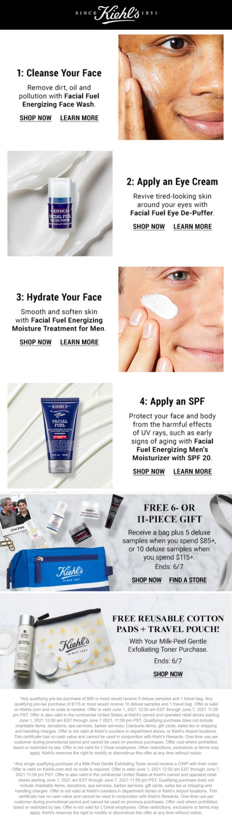 Kiehls stores Coupon  5pc free on $85 or 10pc free on $115 online at Kiehls #kiehls