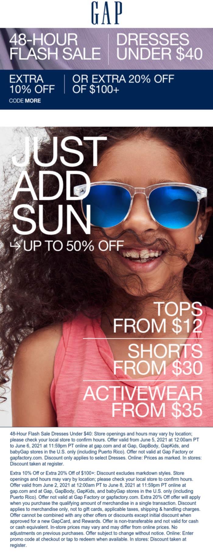 Gap stores Coupon  10-20% off at Gap, or online via promo code MORE #gap