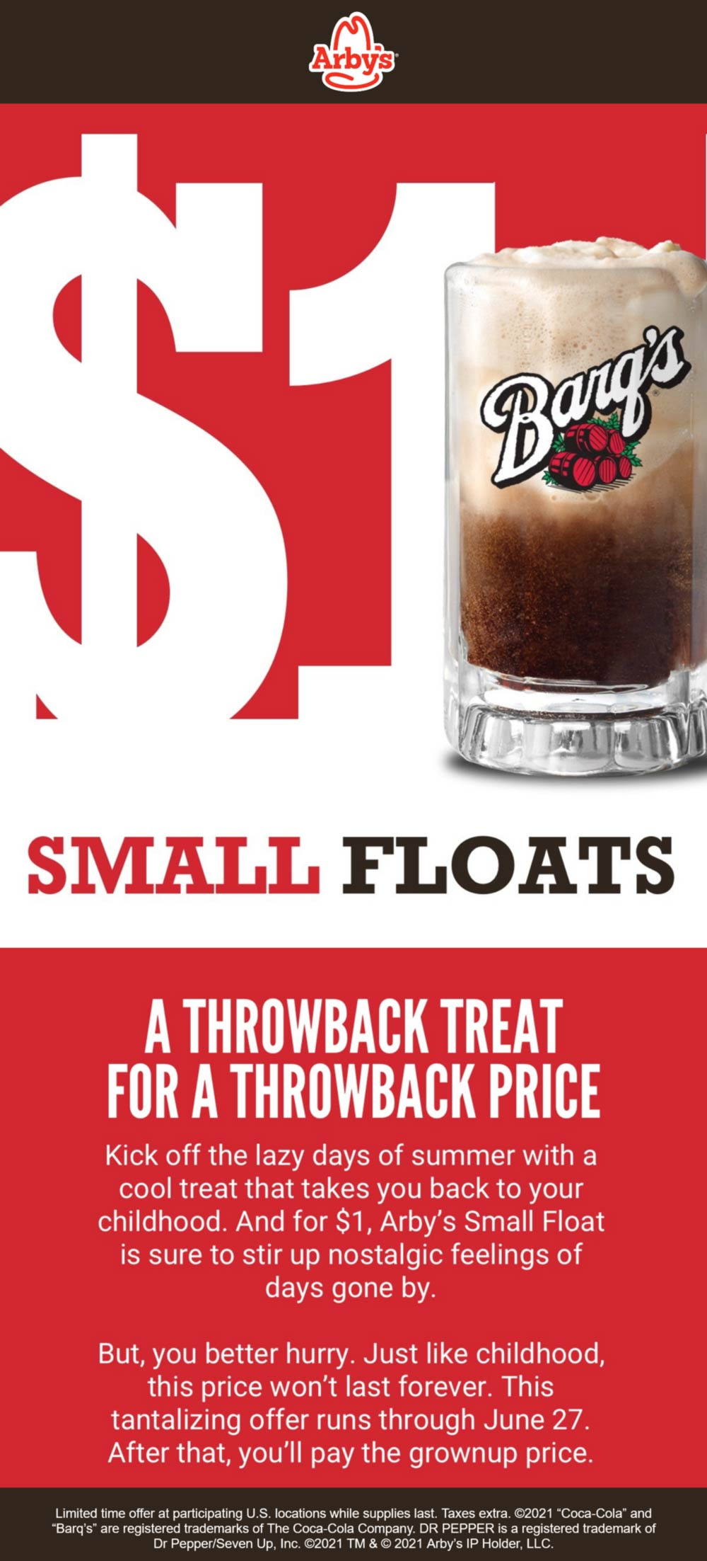 Arbys restaurants Coupon  $1 root beer floats at Arbys restaurants #arbys