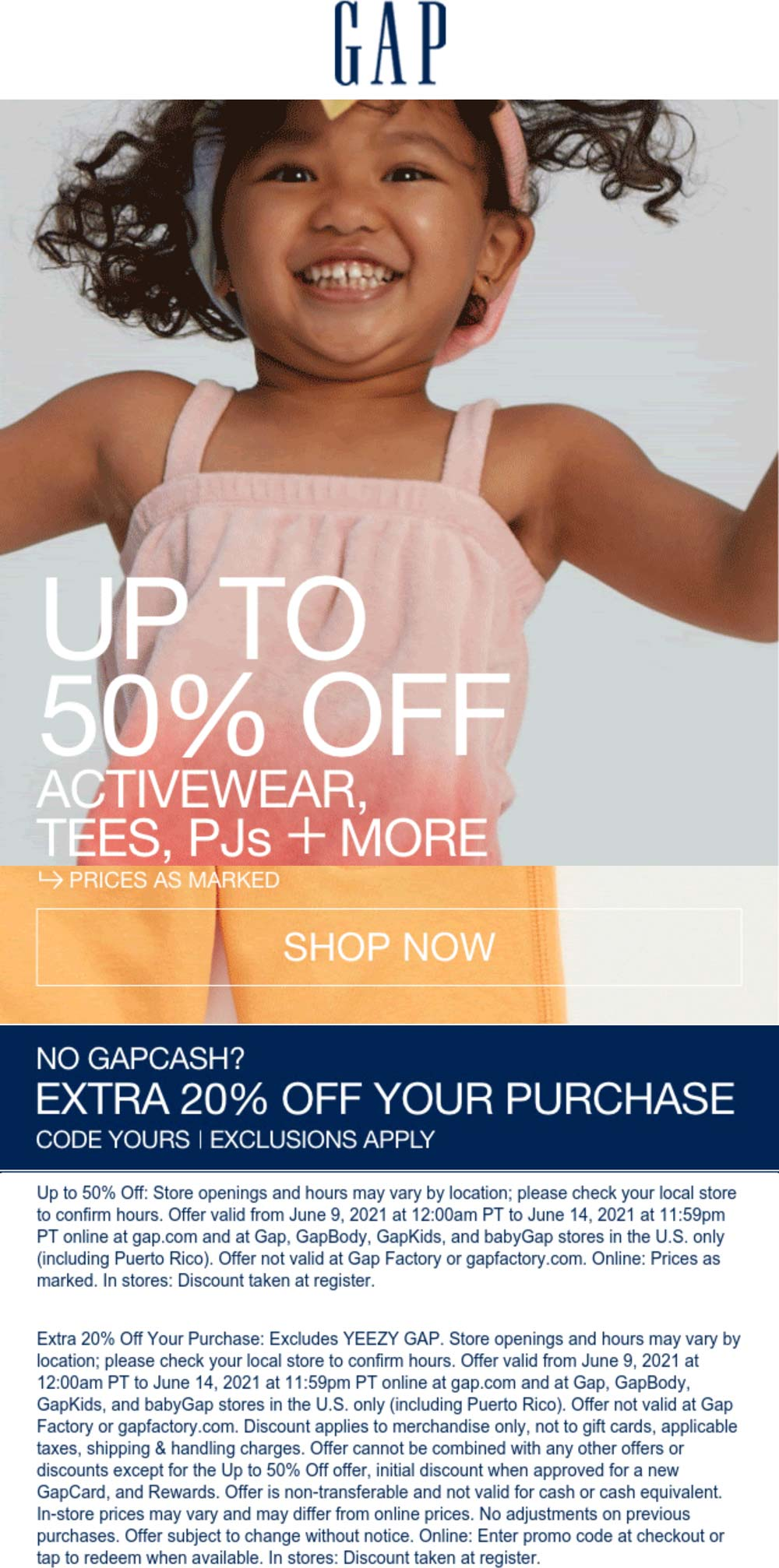Gap stores Coupon  Extra 20% off at Gap, or online via promo code YOURS #gap