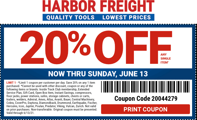 Harbor Freight stores Coupon  20% off a single item today at Harbor Freight Tools #harborfreight