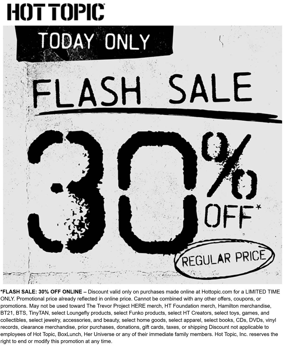 Hot Topic stores Coupon  30% off online today at Hot Topic #hottopic