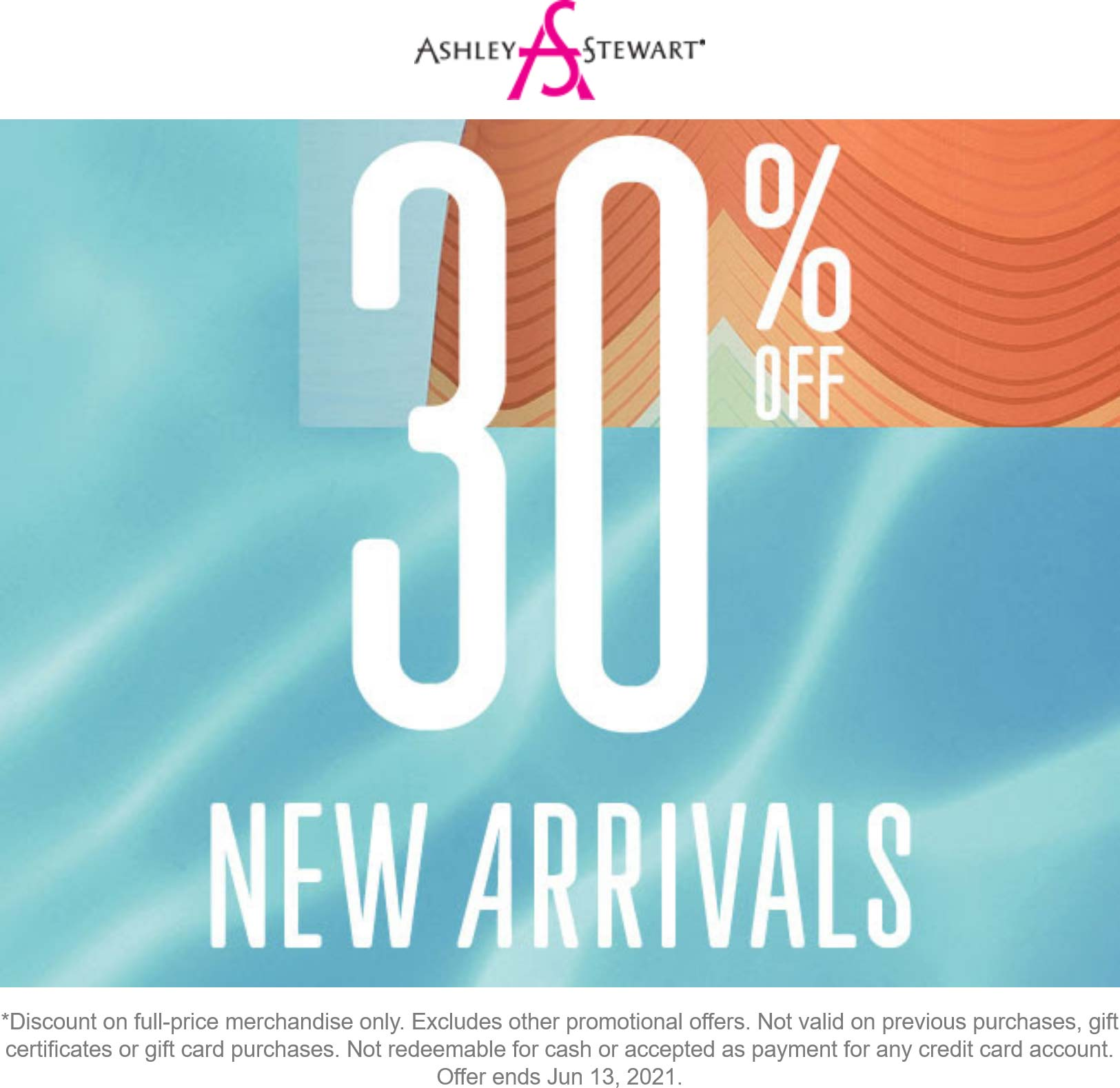 Ashley Stewart stores Coupon  30% off new arrivals today at Ashley Stewart #ashleystewart