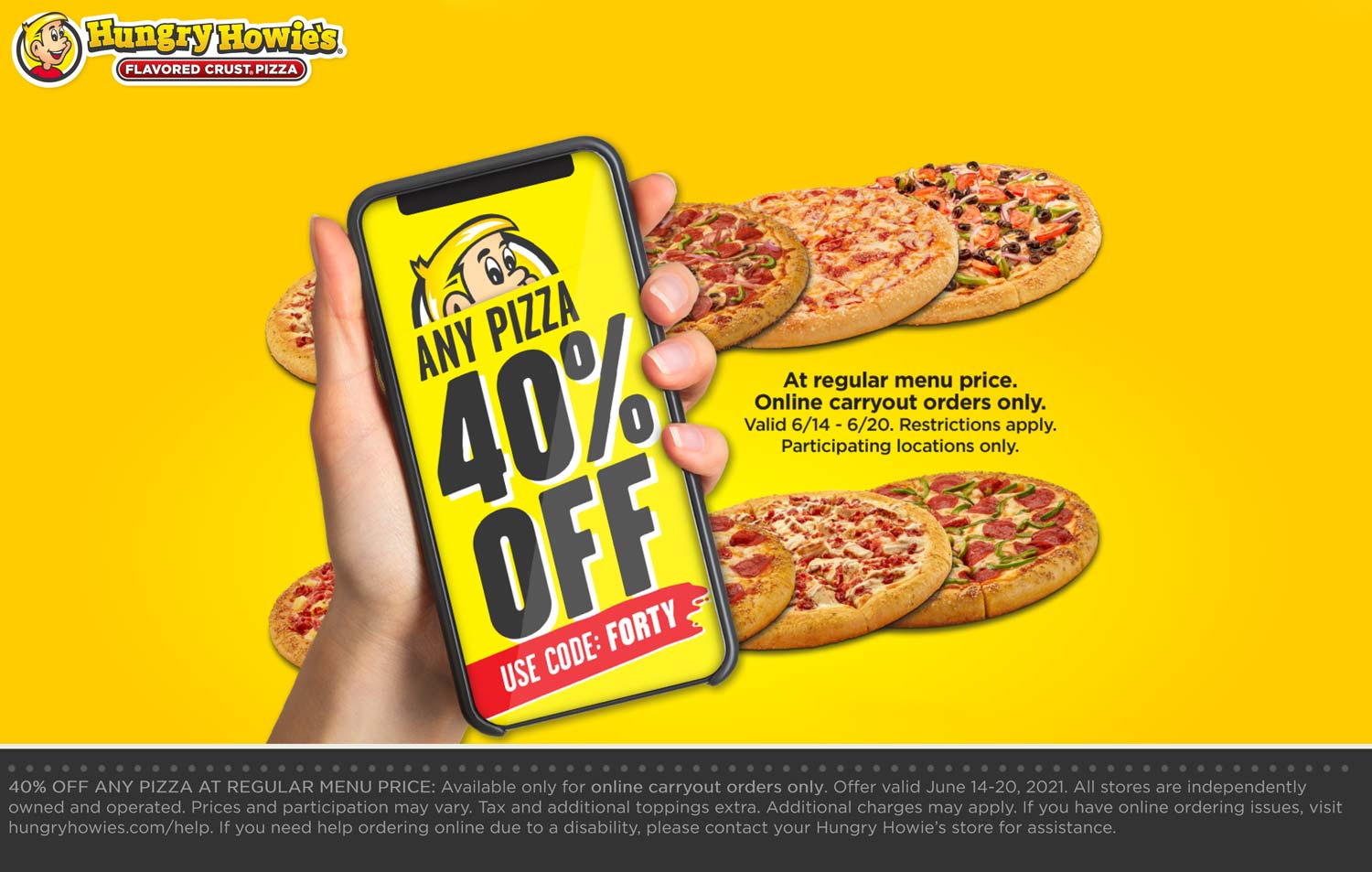Hungry Howies restaurants Coupon  40% off any pizza at Hungry Howies via promo code FORTY #hungryhowies