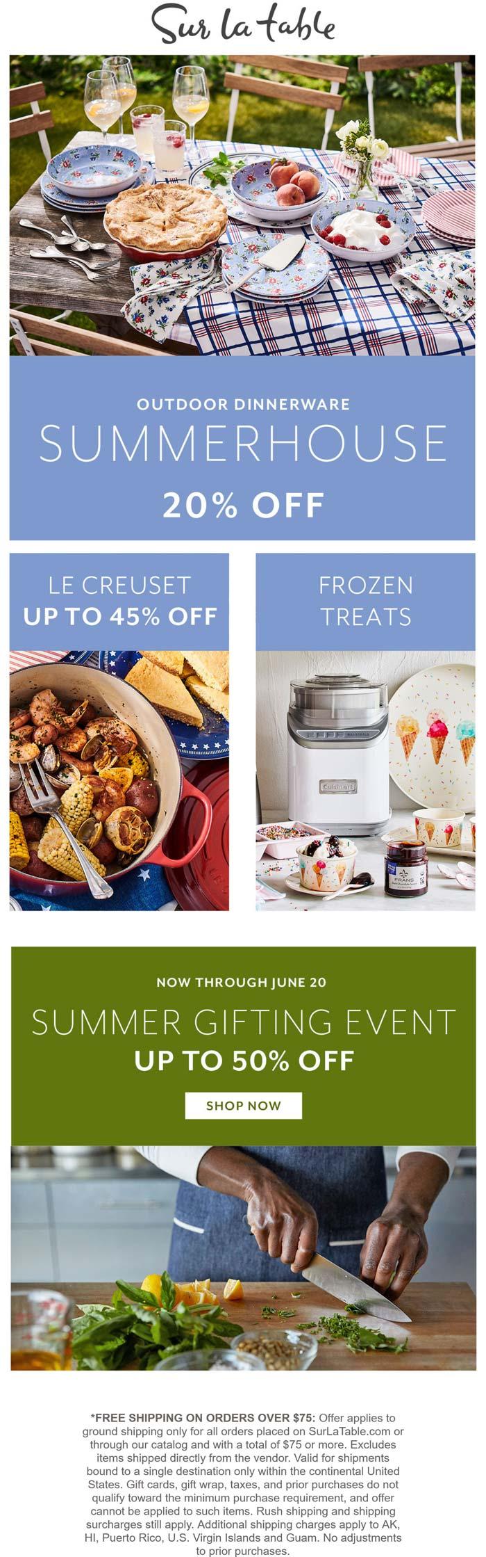 Sur la Table stores Coupon  20% off outdoor dinnerware at Sur la Table #surlatable