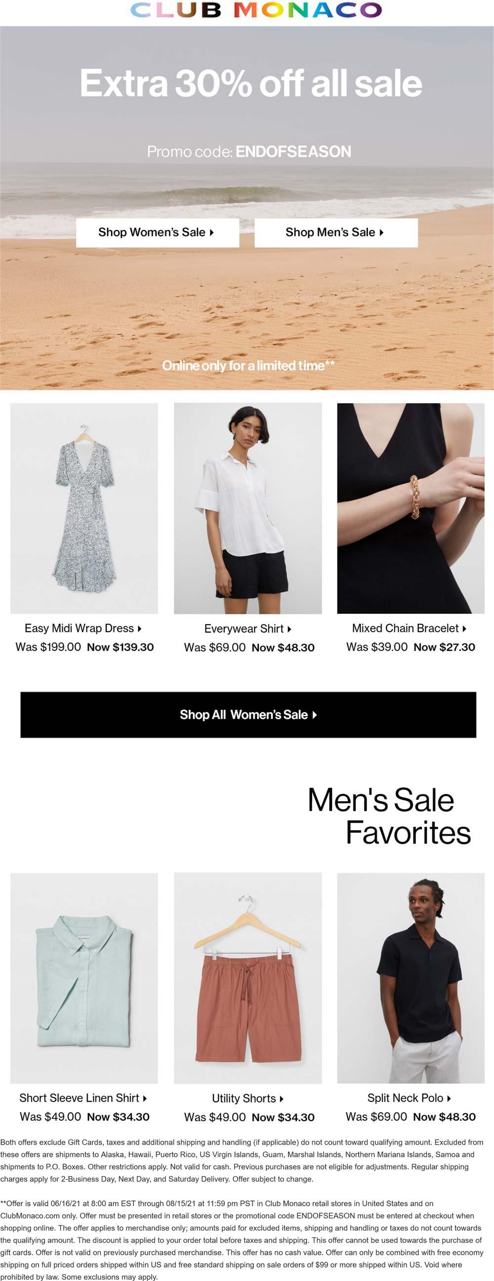 Club Monaco stores Coupon  Extra 30% off sale items at Club Monaco, or online via promo code ENDOFSEASON #clubmonaco