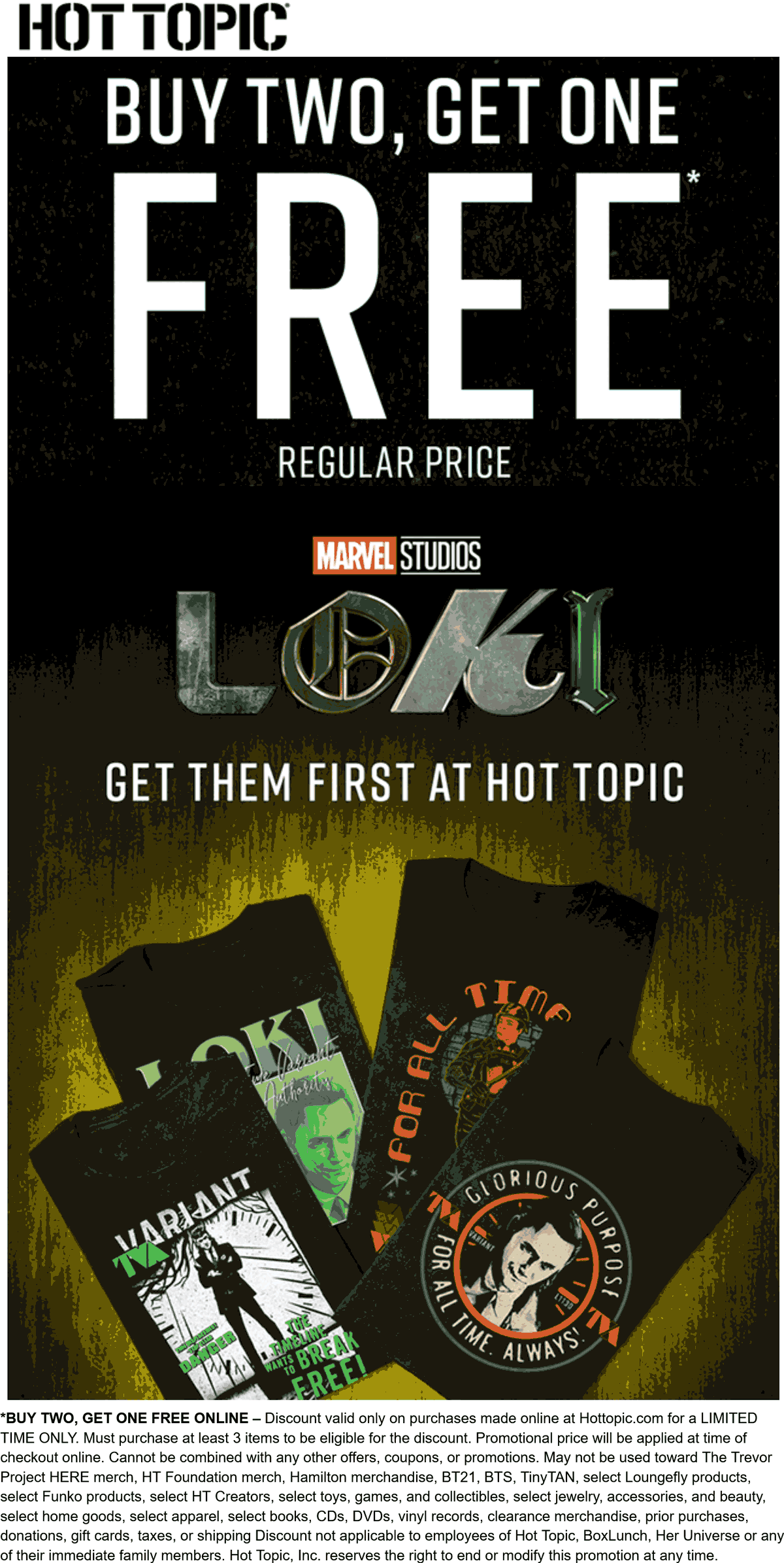 Hot Topic stores Coupon  3rd item free online at Hot Topic #hottopic