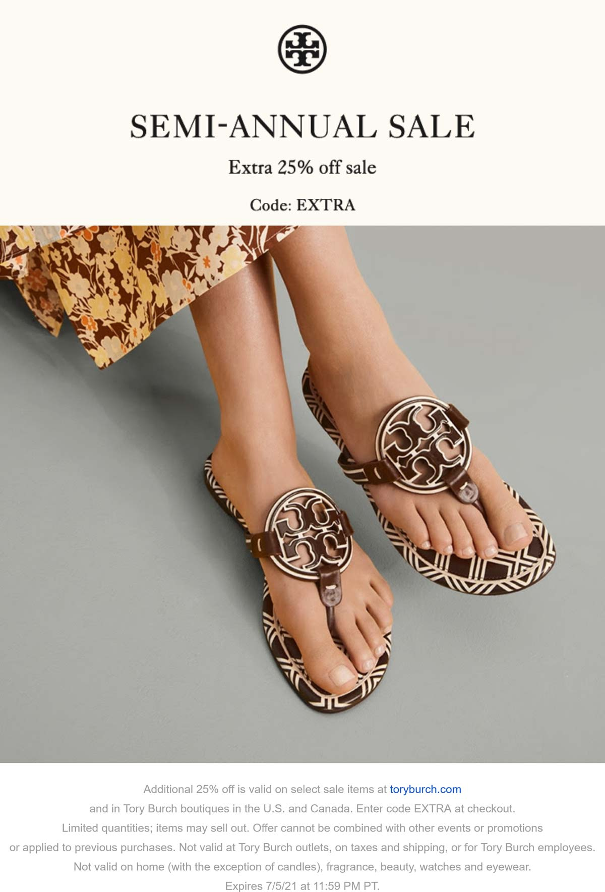 Tory Burch stores Coupon  Extra 25% off sale items at Tory Burch, or online via promo code EXTRA #toryburch