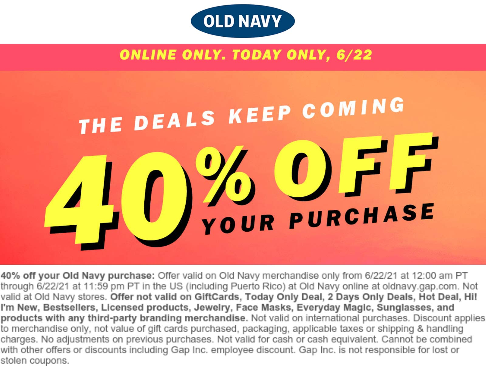 Old Navy coupons & promo code for [July 2021]
