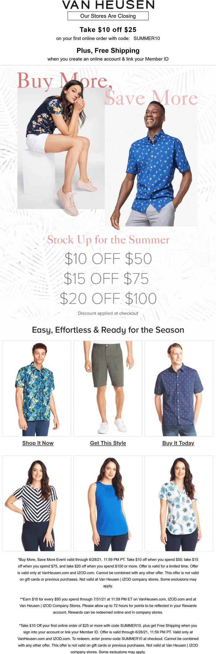 Van Heusen stores Coupon  Going out-of-business $10-$20 off $25+ at Van Heusen & IZOD via promo code SUMMER10 #vanheusen