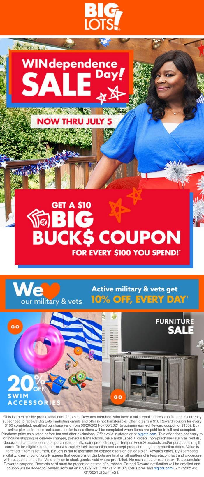Big Lots stores Coupon  $10 store reward on every $100 spent at Big Lots #biglots