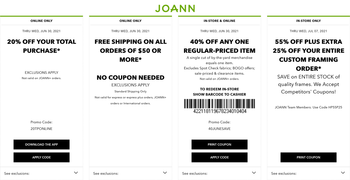 Joann stores Coupon  40% off a single item at Joann, or online via promo code 40JUNESAVE #joann